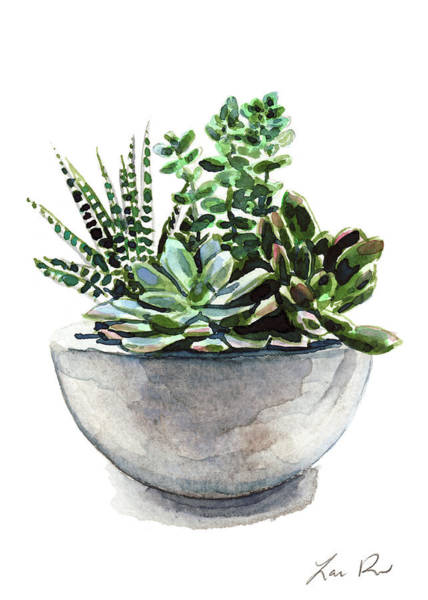 Thumb Painting - Succulent Arrangement In Modern Planter by Laura Row