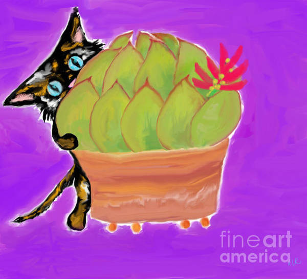 Painting - Succulent Calico Cat  by Reina Resto