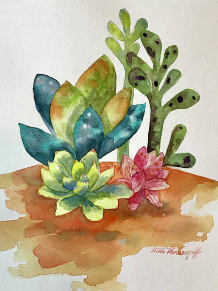 Painting - Succulents by Hilda Vandergriff