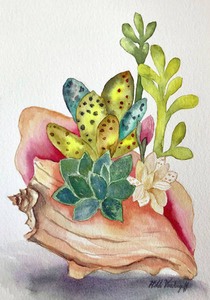 Painting - Succulents In Shell by Hilda Vandergriff