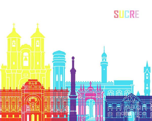 Bolivia Painting - Sucre Skyline Pop by Pablo Romero