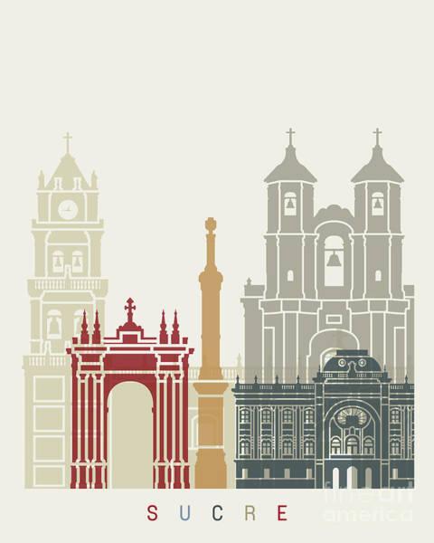 Bolivia Painting - Sucre Skyline Poster by Pablo Romero