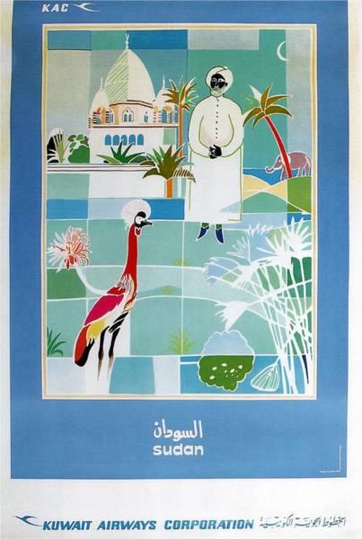 Wall Art - Mixed Media - Sudan - Kuwait Airways Corporation - Kuwait - Retro Travel Poster - Vintage Poster by Studio Grafiikka