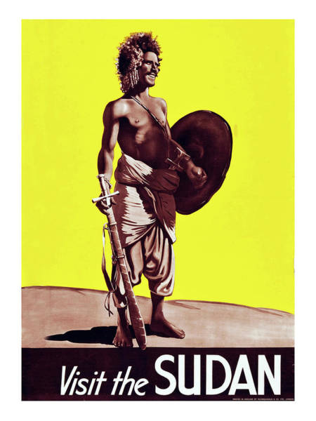 Wall Art - Painting - Sudan, Traditional Warrior, Travel Poster by Long Shot