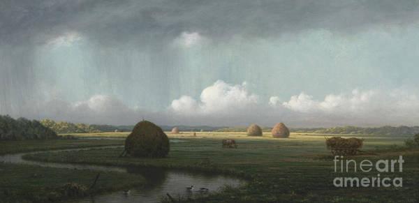 Wall Art - Painting - Sudden Shower, Newbury Marshes by Martin Johnson Heade