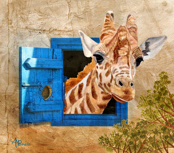 Painting - Suddenly A Giraffe by Angeles M Pomata