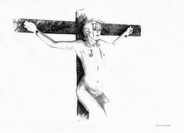 Suffering Drawing - Suffering On The Cross Drawing I by Ramon Martinez