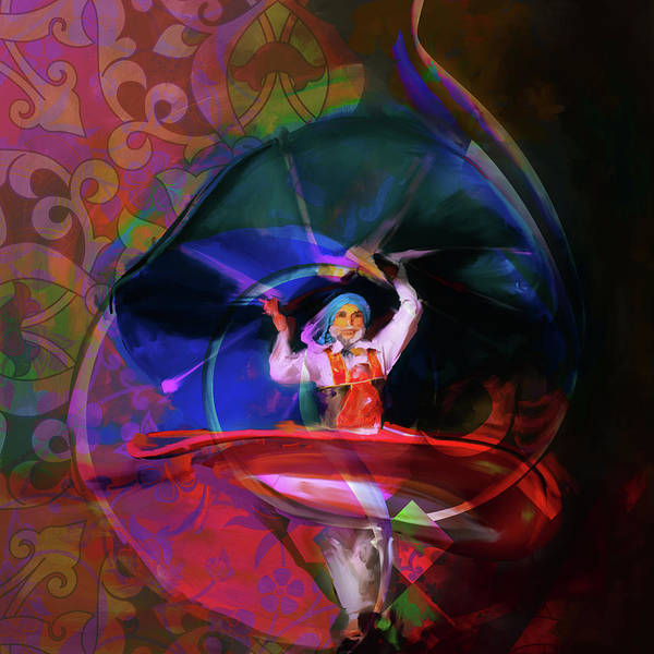 Wall Art - Painting - Sufi Whirl 11 Painting 725 5 by Mawra Tahreem