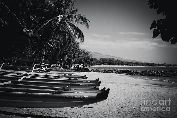 Wall Art - Photograph - Sugar Beach Hawaiian Outrigger Canoes Kihei Maui Hawaii  by Sharon Mau