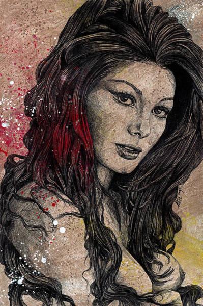 Italian Actress Wall Art - Drawing - Sugar, Honey, Pepper - Tribute To Edwige Fenech by Marco Paludet
