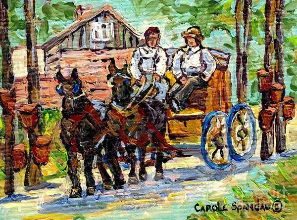 Painting - Sugar Shack Maple Trees Horses And Wagon Canadian Landscape Painting Ontario Farm Scene Cspandau Art by Carole Spandau