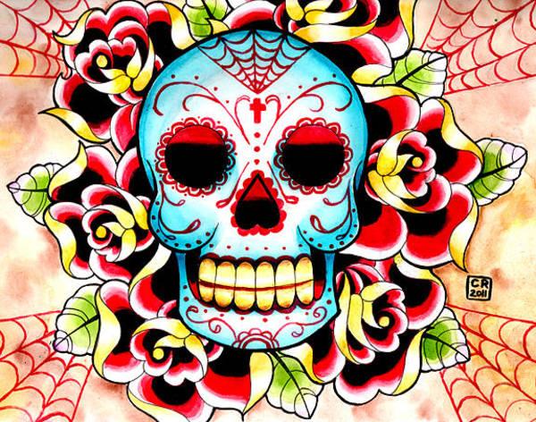 Tattoo Flash Painting - Sugar Skull by Carissa Rose Stevens