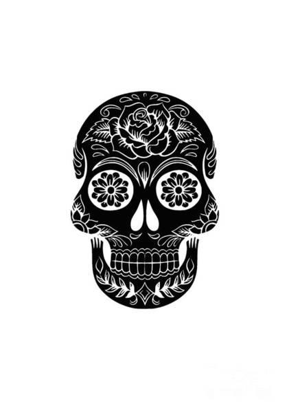 Digital Art - Sugar Skull Day Of The Dead Black Ink by Edward Fielding