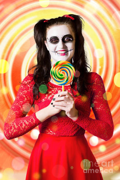 Wall Art - Photograph - Sugar Skull Girl Holding Colourful Lollypop Candy by Jorgo Photography - Wall Art Gallery