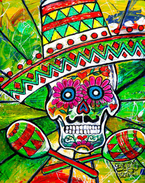 White Zombie Painting - Sugar Skull With Sombrero And Marakas by Genevieve Esson