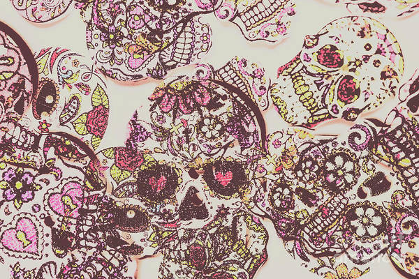 Bone Photograph - Sugarskull Punk Patchwork by Jorgo Photography - Wall Art Gallery