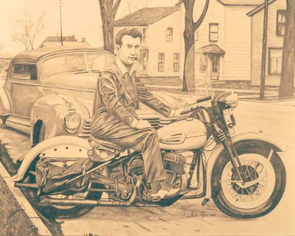 Wall Art - Drawing - Suit And A Harley by Charles Rogers