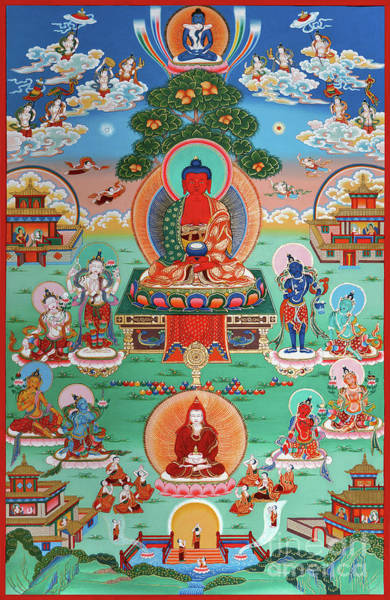 Guru Painting - Sukhavati Pure Land Of Buddha Amitabha by Sergey Noskov