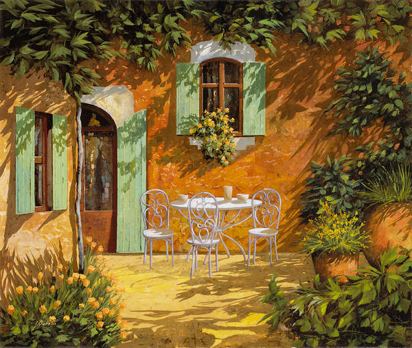 Cafes Wall Art - Painting - Sul Patio by Guido Borelli