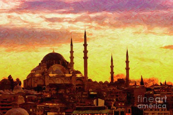 Mosque Digital Art - Suleiman Mosque Digital Painting by Antony McAulay