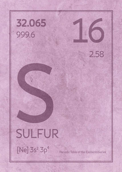 Atomic Number Wall Art - Mixed Media - Sulfur Element Symbol Periodic Table Series 016 by Design Turnpike