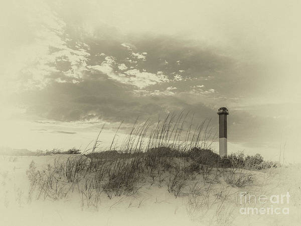 Photograph - Sullivan's Island Lighthouse Antique Plate by Dale Powell