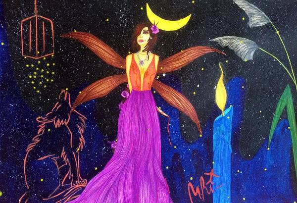 Firefly Painting - Sultana-the Enigmatic Guardian Spirit. by Tejsweena Krishan