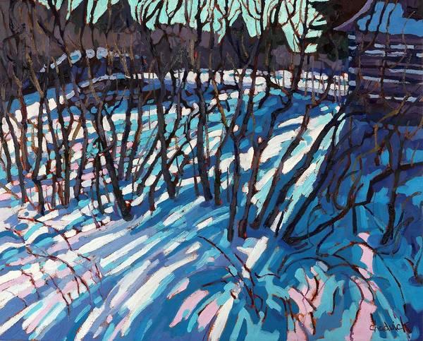 Barn Snow Painting - Sumac Snow Shadows by Phil Chadwick