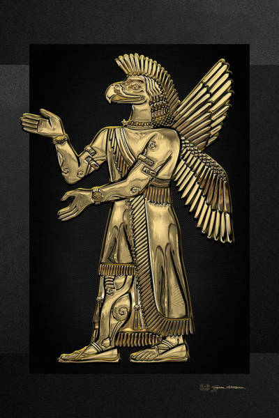 Digital Art - Sumerian Deities - Gold God Ninurta Over Black Canvas by Serge Averbukh