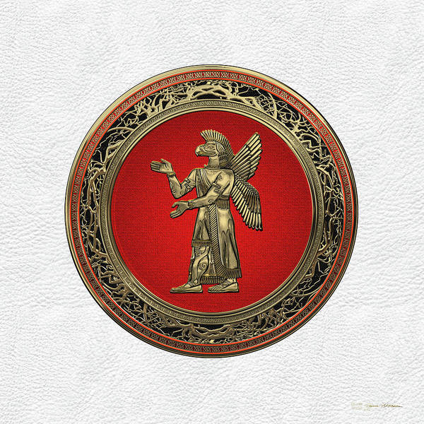 Digital Art - Sumerian Deities - Gold God Ninurta Over White Leather by Serge Averbukh