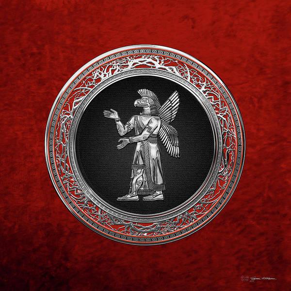 Digital Art - Sumerian Deities - Silver God Ninurta Over Red Velvet by Serge Averbukh