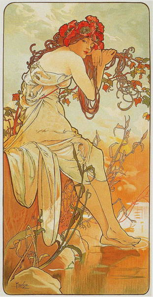 Camomile Painting - Summer 1896 by Alphonse Mucha