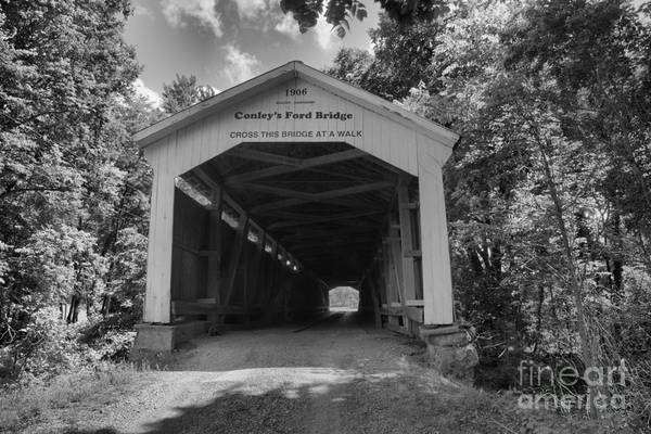 Ford Van Photograph - Summer At Conley's Ford Covered Bridge Black And White by Adam Jewell