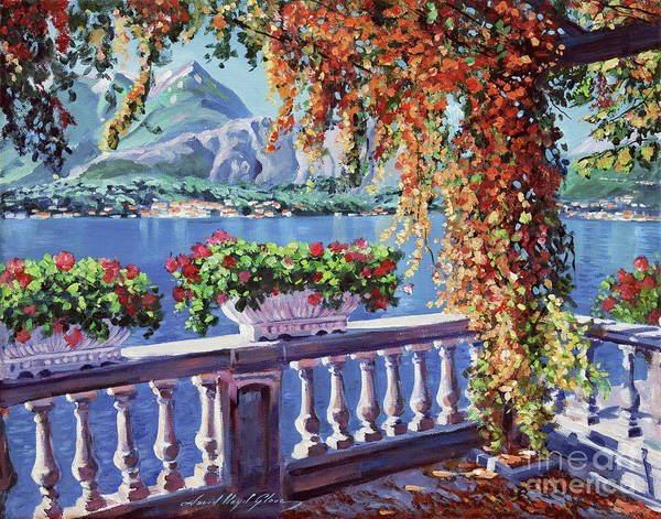 Mountain Lake Painting - Summer At Lake Como by David Lloyd Glover