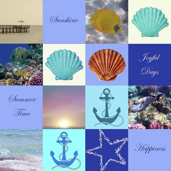 Summer Beach House Collage Art Print