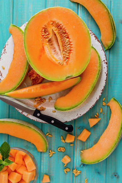 Water-melon Wall Art - Photograph - Summer Cantaloupe Melon by Teri Virbickis