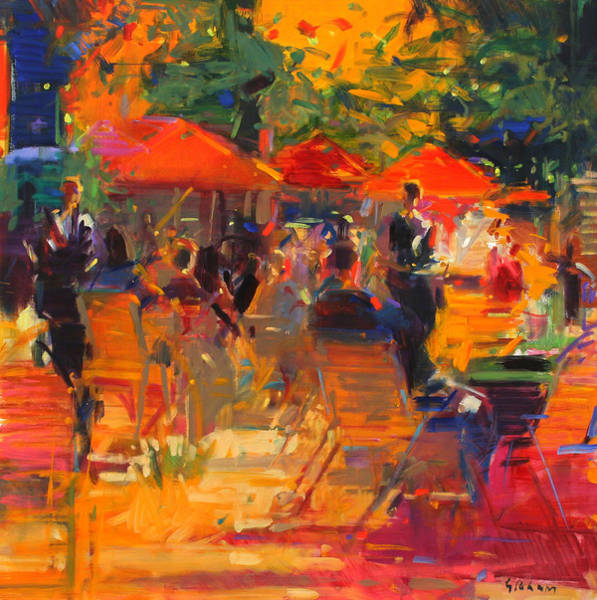 Parisian Cafe Painting - Summer Cocktails  by Peter Graham
