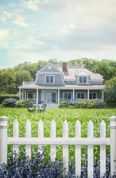 Photograph - Summer Cottage And White Picket Fence With Flowers by Sandra Cunningham
