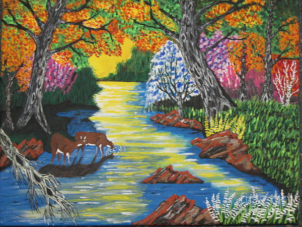 Wall Art - Painting - Summer  Deer Crossing by Jeffrey Koss