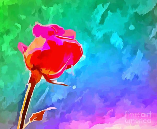 Rainbow Rose Wall Art - Digital Art - Summer Crush by Krissy Katsimbras