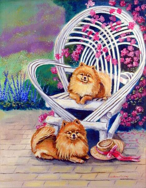 Wall Art - Painting - Summer Day - Pomeranian by Lyn Cook