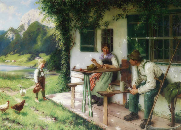 Alpine Meadow Painting - Summer Day In Front Of The House by Emil Rau