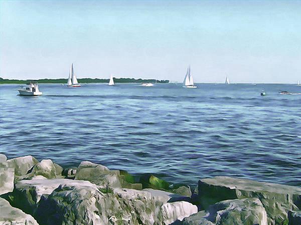Speed Boat Digital Art - Summer Days On Lake Ontario by Leslie Montgomery