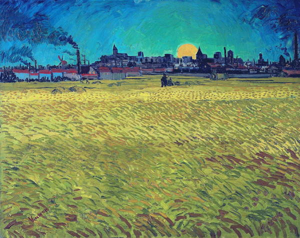 Barley Painting - Summer Evening  Wheatfield With Setting Sun   by Vincent Van Gogh