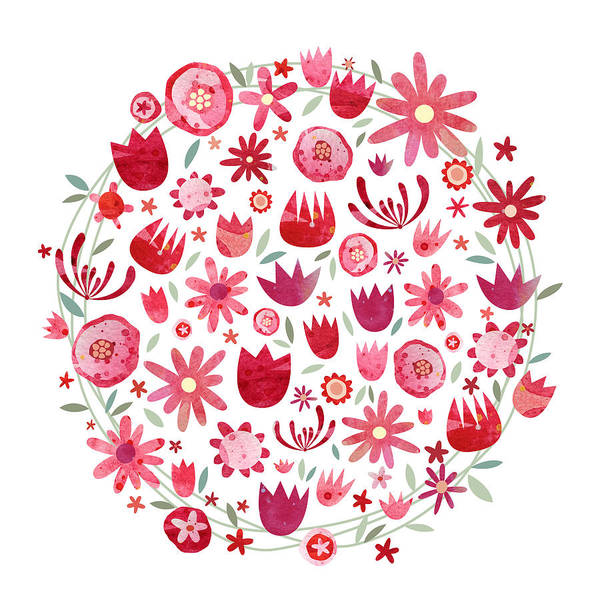 Flower Wall Art - Painting - Summer Flower Circle by Nic Squirrell