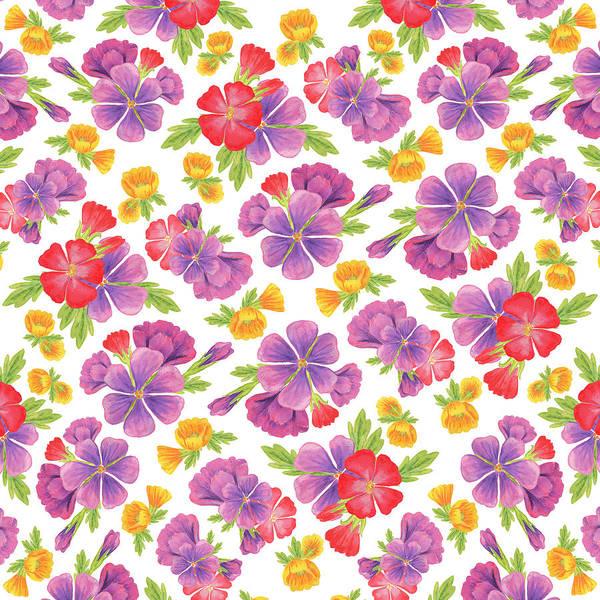 Wedding Invitation Wall Art - Painting - Summer Flowers Pattern by Irina Sztukowski