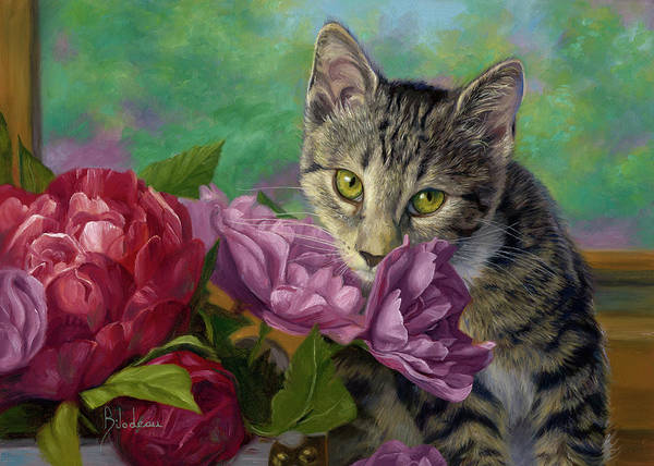 Domestic Cat Wall Art - Painting - Summer Fragrance by Lucie Bilodeau