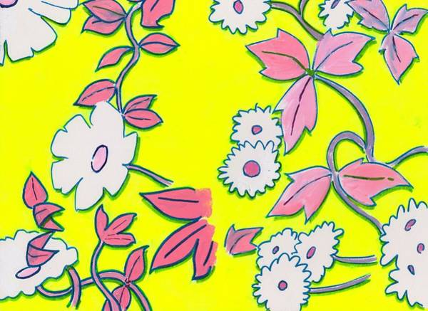 Painting - Summer Garden Climbing Plants Yellow Purple by Mike Jory