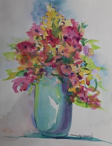 Snapdragons Painting - Summer In A Jar by Susan Seaborn