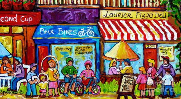 Painting - Summer In Montreal Laurier Street Shops Urban City Paintings Canadian Art Carole Spandau by Carole Spandau